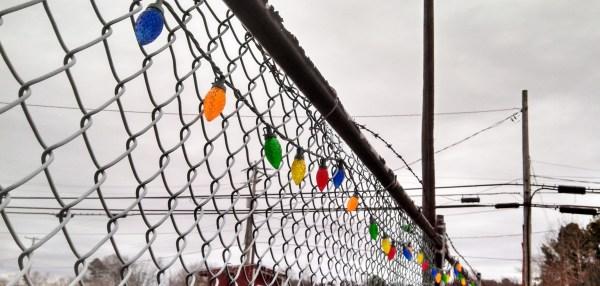 Christmas lights on fence from Shalavee.com