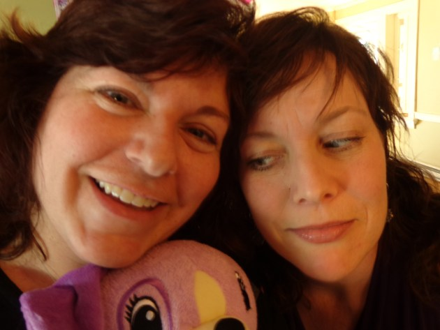 My sister-in-law Kim and I at Fiona's birthday party for Shalavee.com