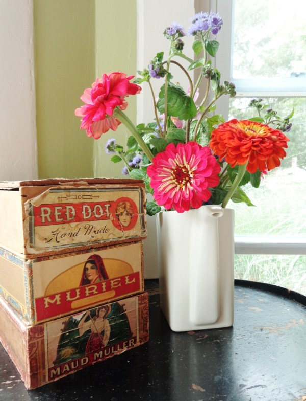 vintage cigar boxes and farmer's market flowers for My First Ask on Shalavee.com