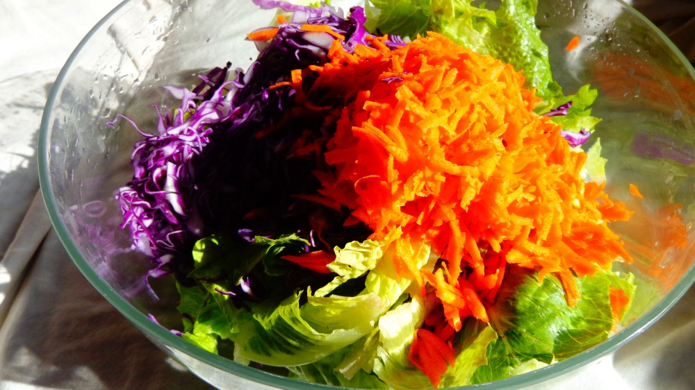 Salad makings from Overwhelmed on Salavee.com