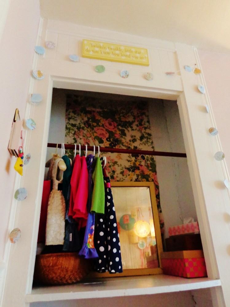 The closet nook Fiona's room on Shalavee.com