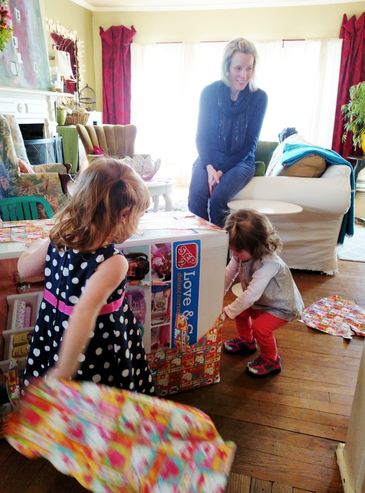 help opening the presents from Cousin Emma at Fiona's Second Birthday Party on Shalavee.com