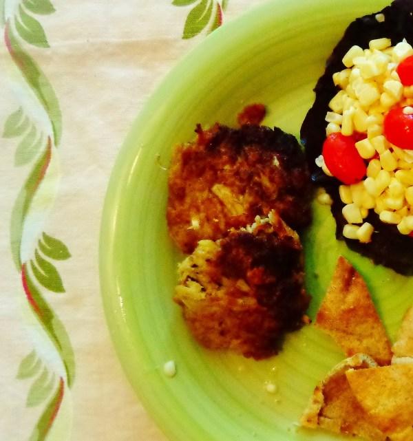 crabcake and corn salad on Shalavee.com