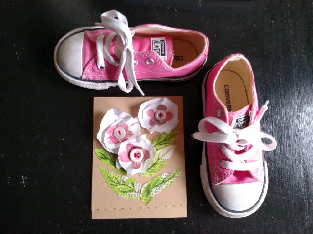 Fiona's pink Converse and paper flower card