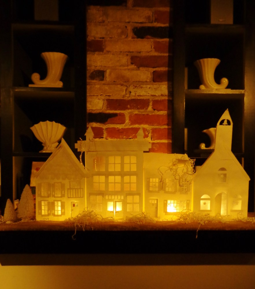 paper houses on the mantle on Shalavee.com