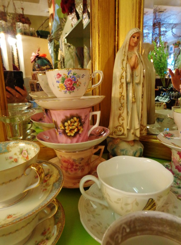 Madonna and antique teacups at Moonvine on Shalavee.com