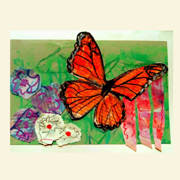 Pastel butterfly in collage garden on Shalavee.com