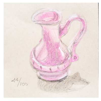 plastic pink pitcher for the 100 days challenge days 34 through 54 on Shalavee.com