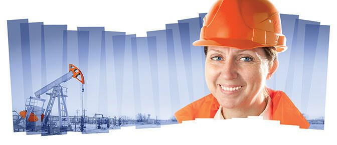 Female industrial worker in an oil field. Collage composition. Our Nation Needs Women in Energy