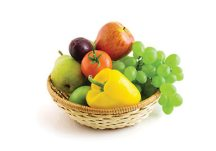 fruits and vegetables in basket isolated on the white background