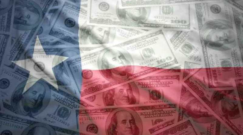 colorful waving texas state flag on a american dollar money background
