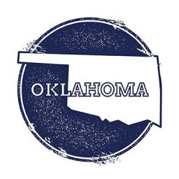 Oklahoma vector map. Grunge rubber stamp with the name and map of Oklahoma vector illustration. Can be used as insignia logotype label sticker or badge of USA state.