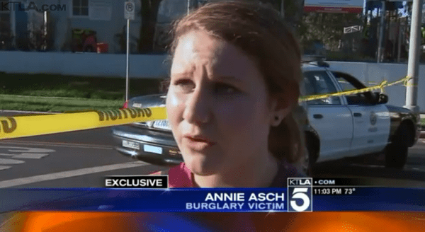 ROBBERY: Alumna Annie Asch '14 appears on KTLA news after robbers broke into her home July 22. She hid in her closet and was afraid to come out even after police arrived.  Suspects escaped despite a police perimeter.