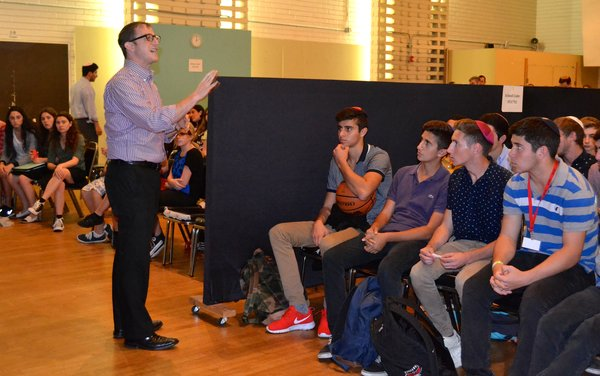 ASSEMBLY: Rabbi Segal answers questions Oct. 28 after Mr. Buckley resigned.