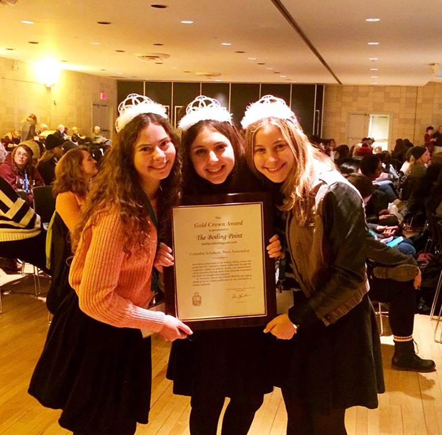 CROWNED%3A+Seniors+Goldie+Fields%2C+Nicole+Feder+and+Margo+Feuer+collect+the+Gold+Crown+Award+at+CSPA+conference+in+March+20+New+York.+