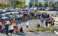 Students and faculty walk outside to honor shooting victims, but leave politics indoors