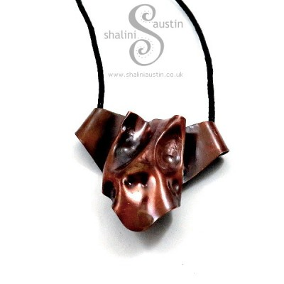 Air-Chased Copper Pendant 'Woof '