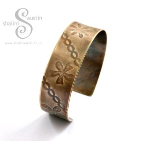 Brass Cuff: Flowers Pattern