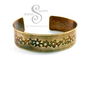 Brass Cuff: Floral Pattern 2