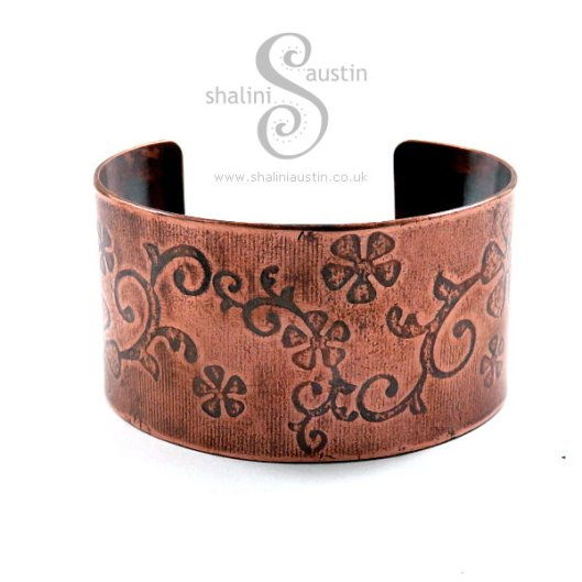 Copper Cuff: Floral Pattern