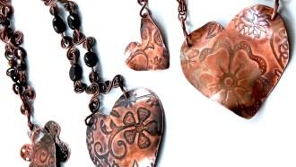Copper Heart Pendants
