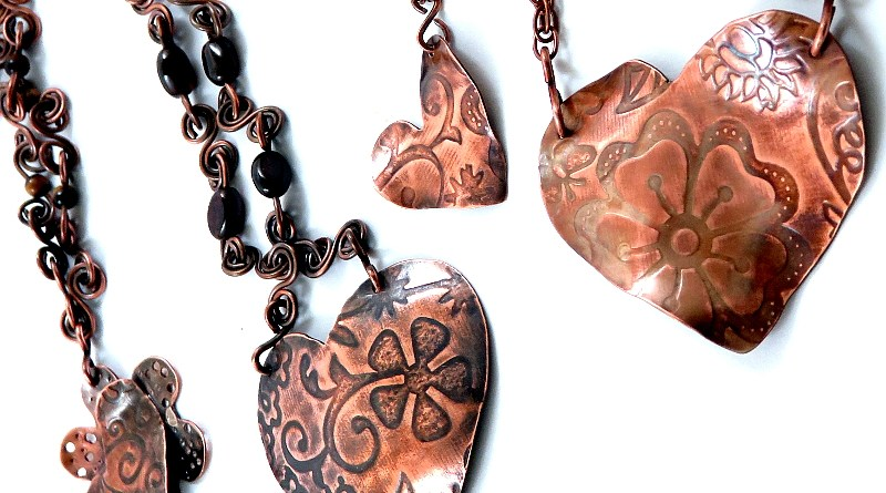 Copper Heart Pendants