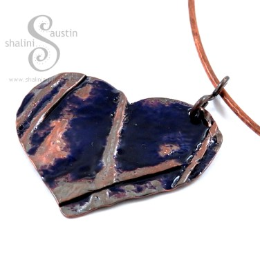 Enamelling Copper Part 2 - Enamelled Copper Heart Pendant on Torc Necklace