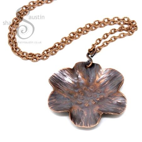 Copper Flower Pendants on shaliniaustin.co.uk