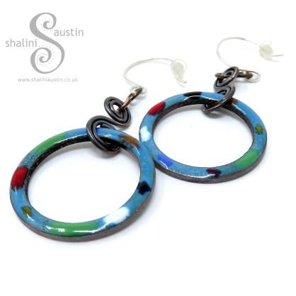 TUTTI FRUTTI Enamelled Copper Circle Earrings – Teal
