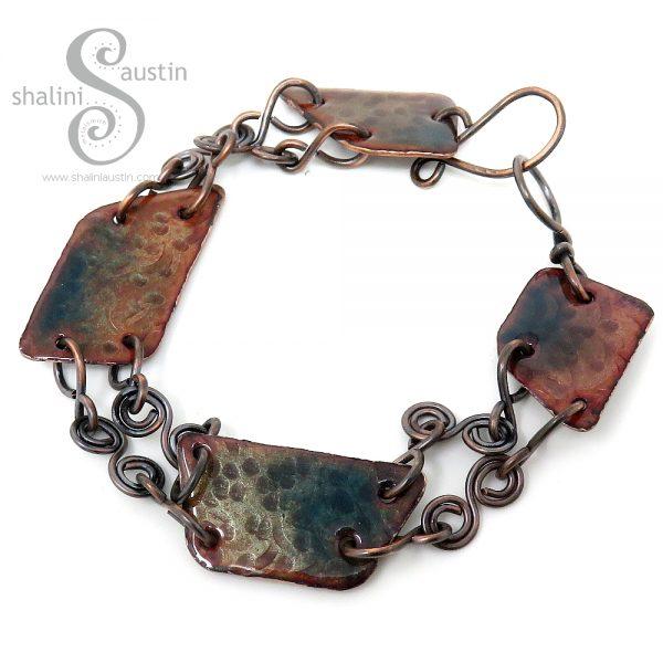 Textured Enamelled Copper Bracelet Blue Green