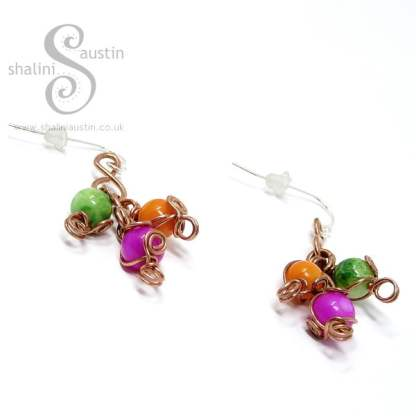Pink, Orange and Green Dyed Colourful Shell Beads Copper Earrings