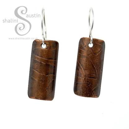 Etched Copper Antique Finish Earrings WHIMSY