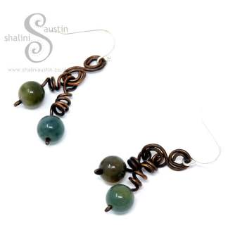 Indian Agate & Copper Wire Earrings