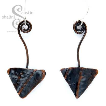 One-Off Textured Copper Arrow Earrings