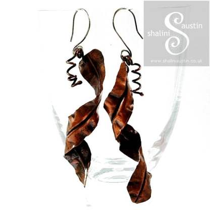 Handmade to Order – Rustic Fold Formed Copper Earrings