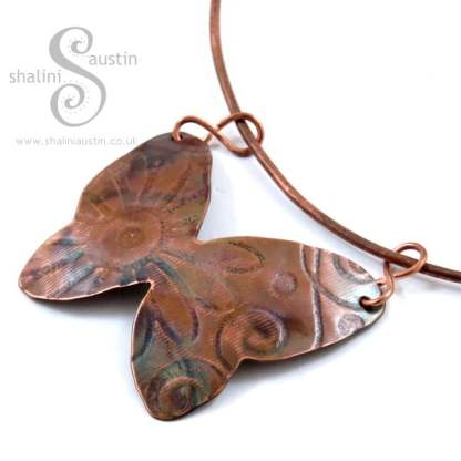 Individually crafted Copper Butterfly Pendant