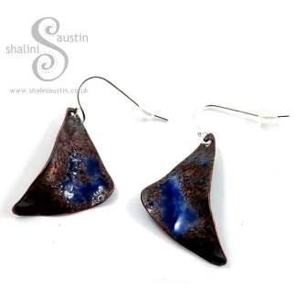 One-Off Enamelled Copper Earrings: Blue