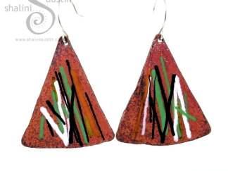 Enamelled Copper Triangle Earrings MULTICOLOUR