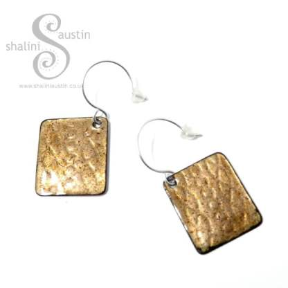 One-Off Embossed Enamelled Copper Earrings