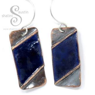 Enamelled Fold Formed Copper Earrings – Blue