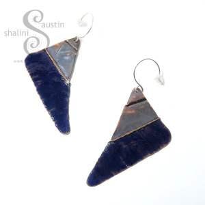 Enamelled Fold-Form Copper Triangle Earrings – Blue