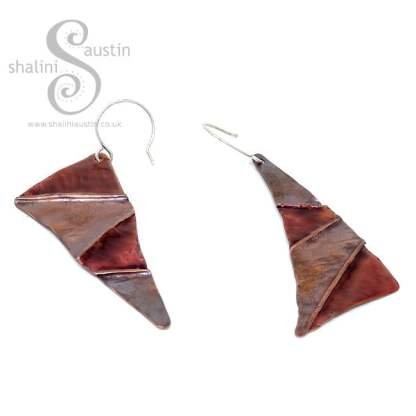 Enamelled Mismatched Copper Earrings – Caramel