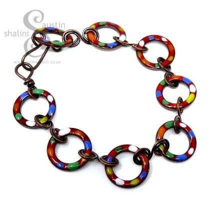 Enamelled Copper Bracelet TUTTI FRUTTI – Red
