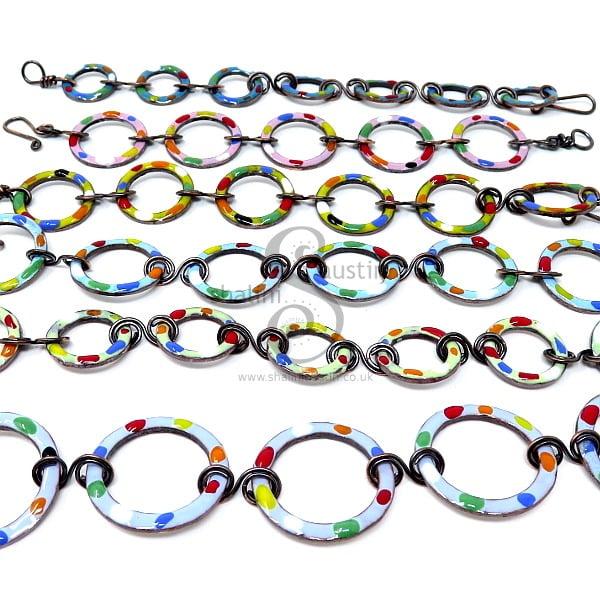 Enamelled Copper Circles Bracelet