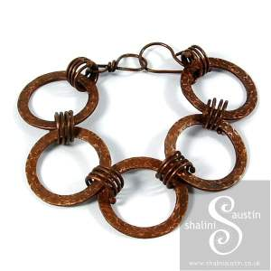 Antique Finish Copper Circles Bracelet DELPHINE
