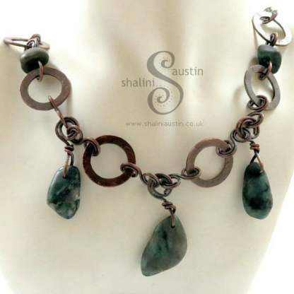 Copper Circles Necklace with Tumbled Emerald