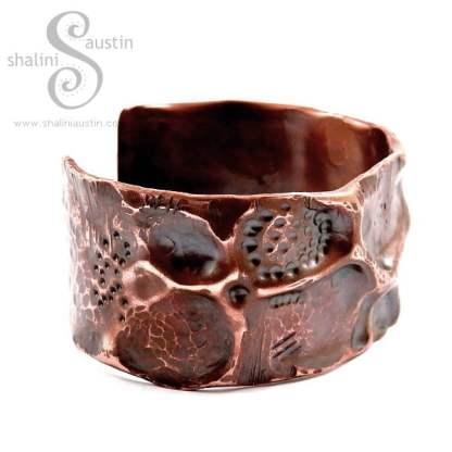 Antique Finish Wide Copper Pipe Cuff FANTASY 2