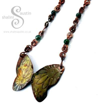 Copper Butterfly Pendant on Indian Agate Necklace