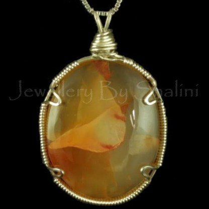 Wire Wrapped Pendant: Carnelian And Sterling Silver Wire