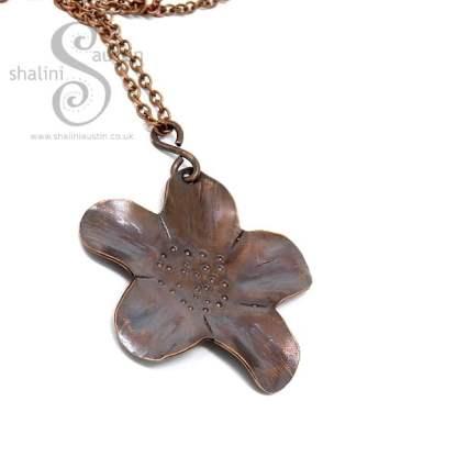 Copper Flower Pendant - Antique Finish